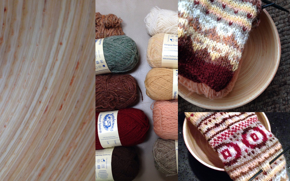 Bamboo bowl, palette of yarn shades and knitting in progress, in bowl by LaylaKnits