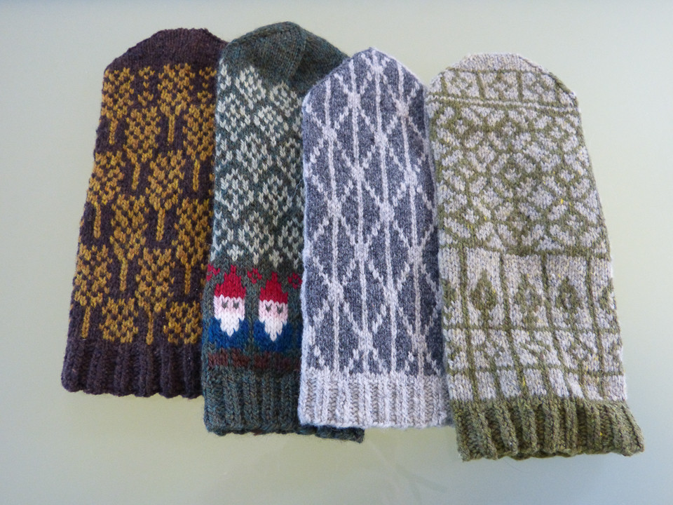 Some of the fantastic mittens whose patterns appear in Spilly Jane Knits Mittens