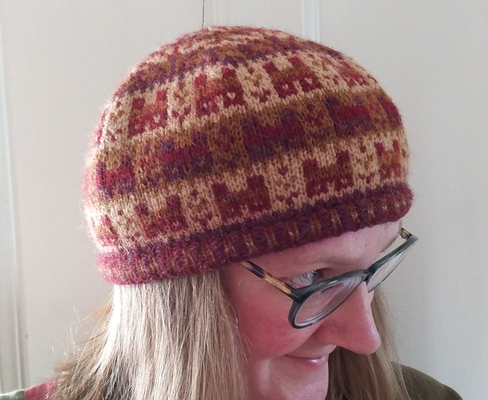 My Crofthoose Hat with shades chosen by looking at the lights and darks in Ella's design